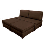 The Duobed King Sofa Bed with Storage is your all-in-one solution for maximum sleep space, and the storage ottomans and back pillows easily convert from a king-size bed to twin beds, sofas, chairs, chaise lounges or love seats for modular living room and bedroom furniture in a single purchase.