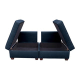 Duobeds deep ocean blue convertible sofa bed with storage is your all-in-one solution for a sofa bed, and the storage ottomans and back pillows easily convert from a bed to a couch or two chairs for modular living room or bedroom furniture.