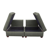 Duobeds convertible sofa bed with storage is your all-in-one solution for a sofa bed, and the storage ottomans and back pillows easily convert from a bed to a couch or two chairs for modular living room or bedroom furniture.