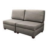 Duobeds grey flint convertible sofa bed with storage is your all-in-one solution for a sofa bed, and the storage ottomans and back pillows easily convert from a bed to a couch or two chairs for modular living room or bedroom furniture.