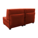 Duobeds red brickconvertible sofa bed with storage is your all-in-one solution for a sofa bed, and the storage ottomans and back pillows easily convert from a bed to a couch or two chairs for modular living room or bedroom furniture.