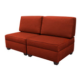 Duobeds red brick convertible sofa bed with storage is your all-in-one solution for a sofa bed, and the storage ottomans and back pillows easily convert from a bed to a couch or two chairs for modular living room or bedroom furniture.
