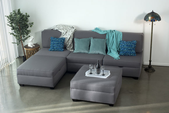 Grey convertible sectional with storage