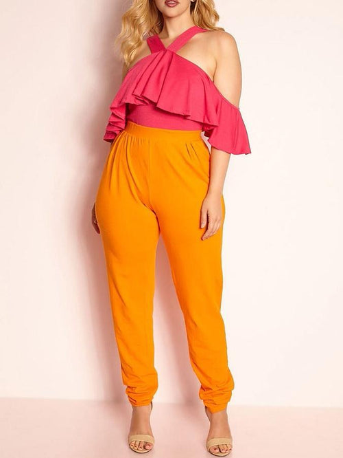 Ruffled Two Color Jumpsuit