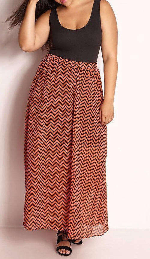 Wholesale Chevron Maxi Skater Skirt