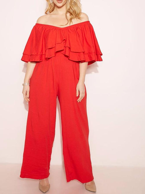 Wholesale Off The Shoulder Ruffled Jumpsuit