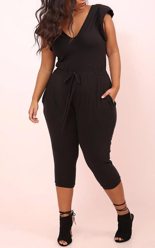 Wholesale Drawstring Cropped Leg Jumpsuit
