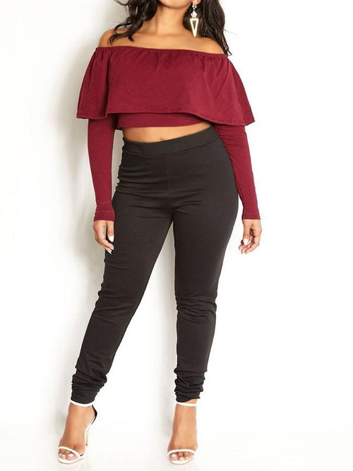 Wholesale  Over The Shoulder Ruffled Crop Top