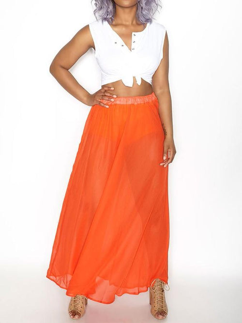 Wholesale  Sheer Chiffon Maxi Skirt - SALE