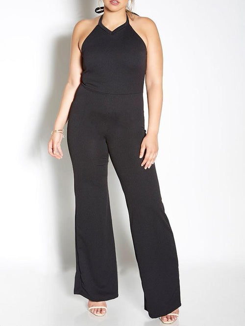 Wholesale Halter Bell Bottom Jumpsuit