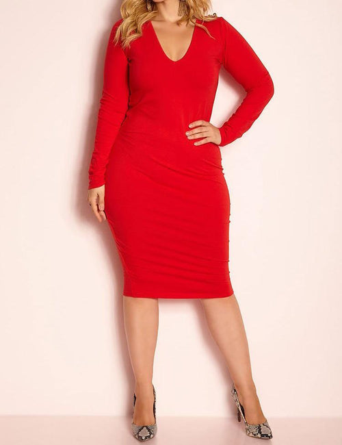 Wholesale  Essential Long Sleeve V-Neck Midi Dress - Red