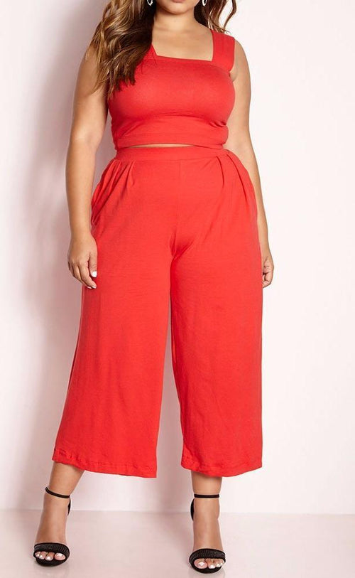Wholesale Crop Top Pleated Pant Set
