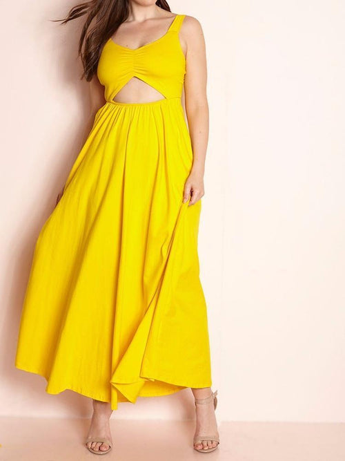 Wholesale Cut-Out Maxi Dress With Pockets