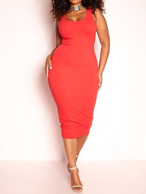 Wholesale  Tank Midi Dress - Red