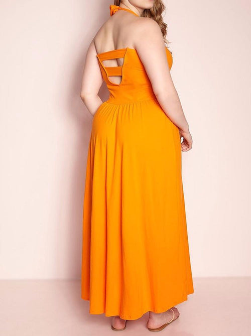 Wholesale Halter Top Skater Maxi Dress