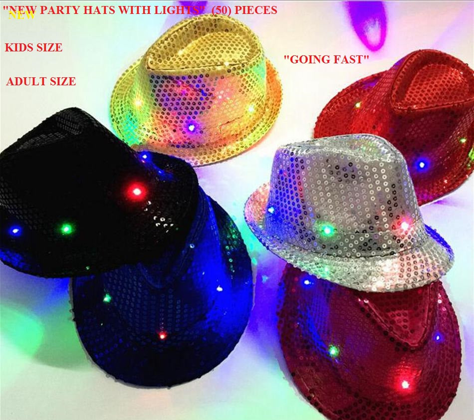 WHOLESALE Cowboy Jazz Sequins Hats Flashing Lights (50 Hats) For Kids    Adult Size a82a37c4762