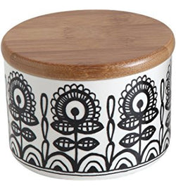 CREATIVE CO OP CERAMIC FLORAL CANISTER WITH BAMBOO LID