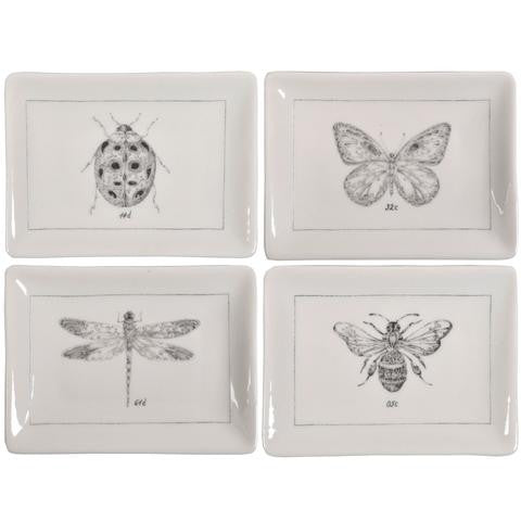 CREATIVE CO OP CERAMIC PLATE WITH INSECTS, 4 STYLES