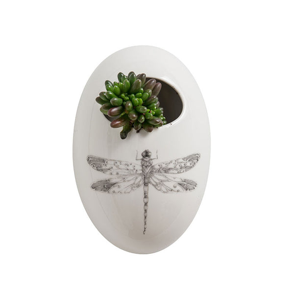 CREATIVE CO OP CERAMIC WALL FLOWER POT WITH DRAGONFLY