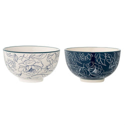 CERAMIC BLUE & WHITE FLOWER BOWLS, 2 STYLES
