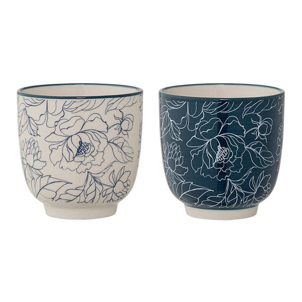 CERAMIC BLUE & WHITE FLOWER CUPS, 2 STYLES