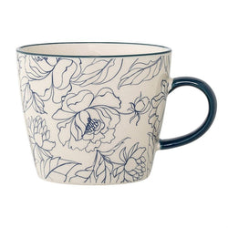 CERAMIC BLUE & WHITE FLOWER MUG
