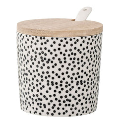 CERAMIC JAR WITH BAMBOO LID & SPOON