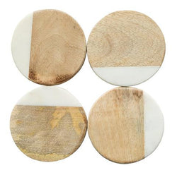 CREATIVE CO OP ROUND MARBLE & MANGO WOOD COASTERS, SET OF 4