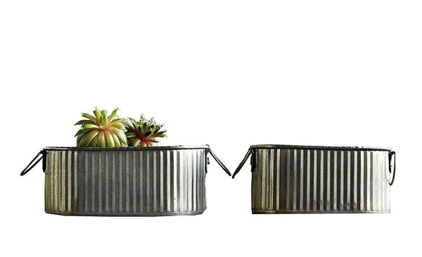CREATIVE CO OP CORRUGATED TIN BUCKETS WITH HANDLES, SET OF 2
