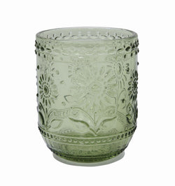 CREATIVE CO OP EMBOSSED GREEN DRINKING GLASS OR VOTIVE HOLDER