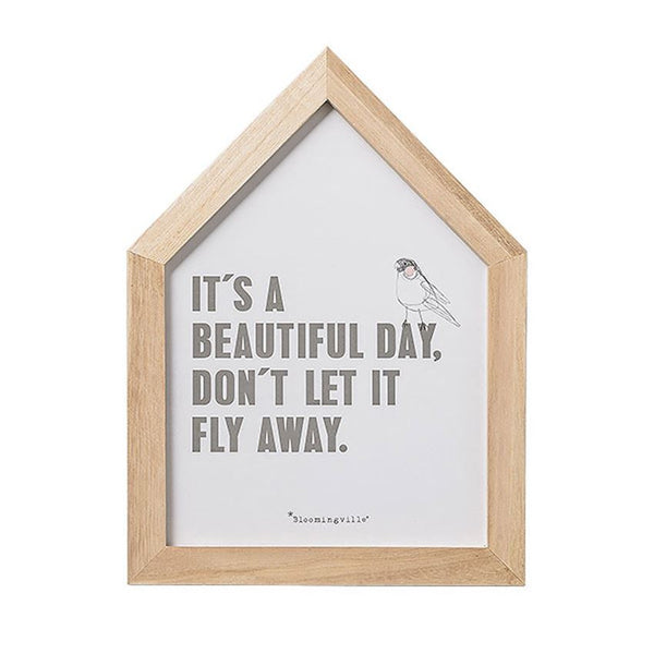 "WOOD FRAMED ""BEAUTIFUL DAY"" WALL DECOR"