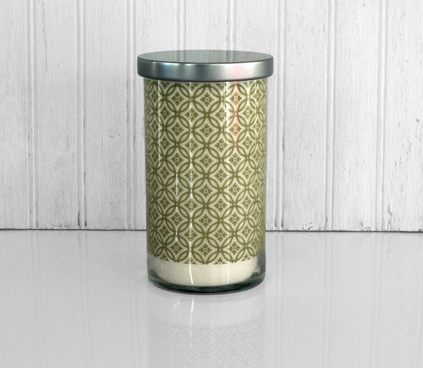 K HALL DESIGNS MOSS PRINTED GLASS CANDLE