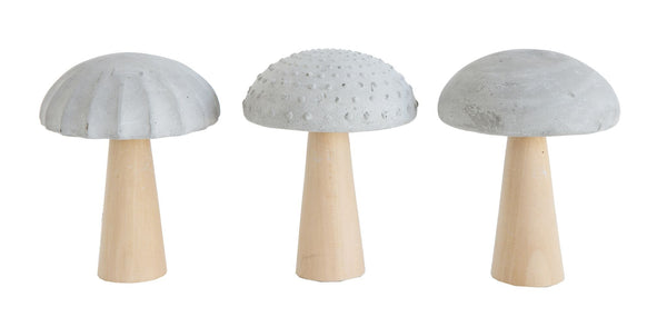 CREATIVE CO OP CEMENT AND WOOD MUSHROOMS, 3 STYLES