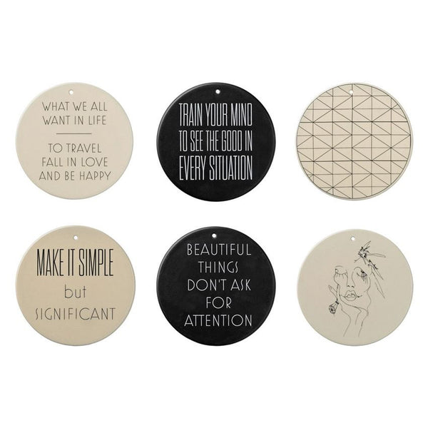 ROUND CERAMIC WALL PLATE WITH QUOTES, 6 STYLES