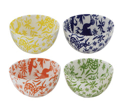 CREATIVE CO OP ROUND STONEWARE BOWLS, 4 COLOURS