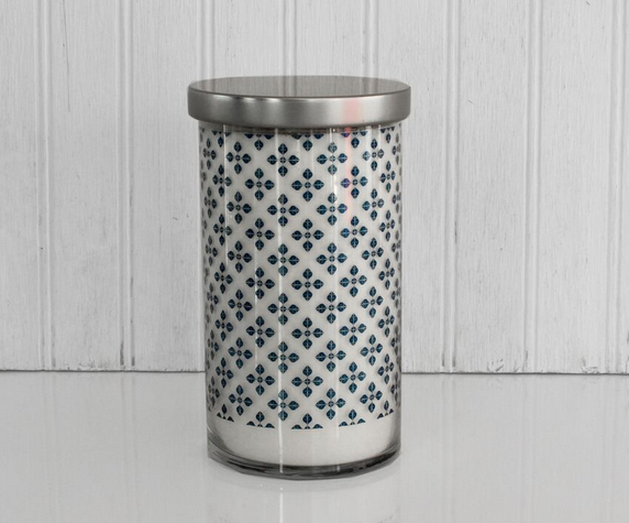 K HALL DESIGNS SHORELINE PRINTED GLASS CANDLE