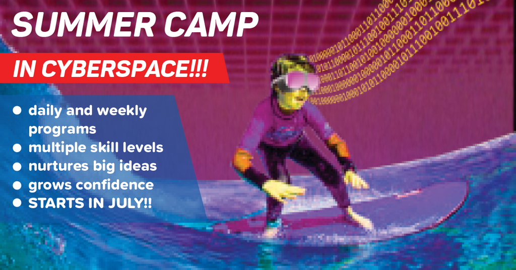 Summer Camps in Cyberspace! Virtual Summer Camp at Little Robot Friends - kid surfing photo