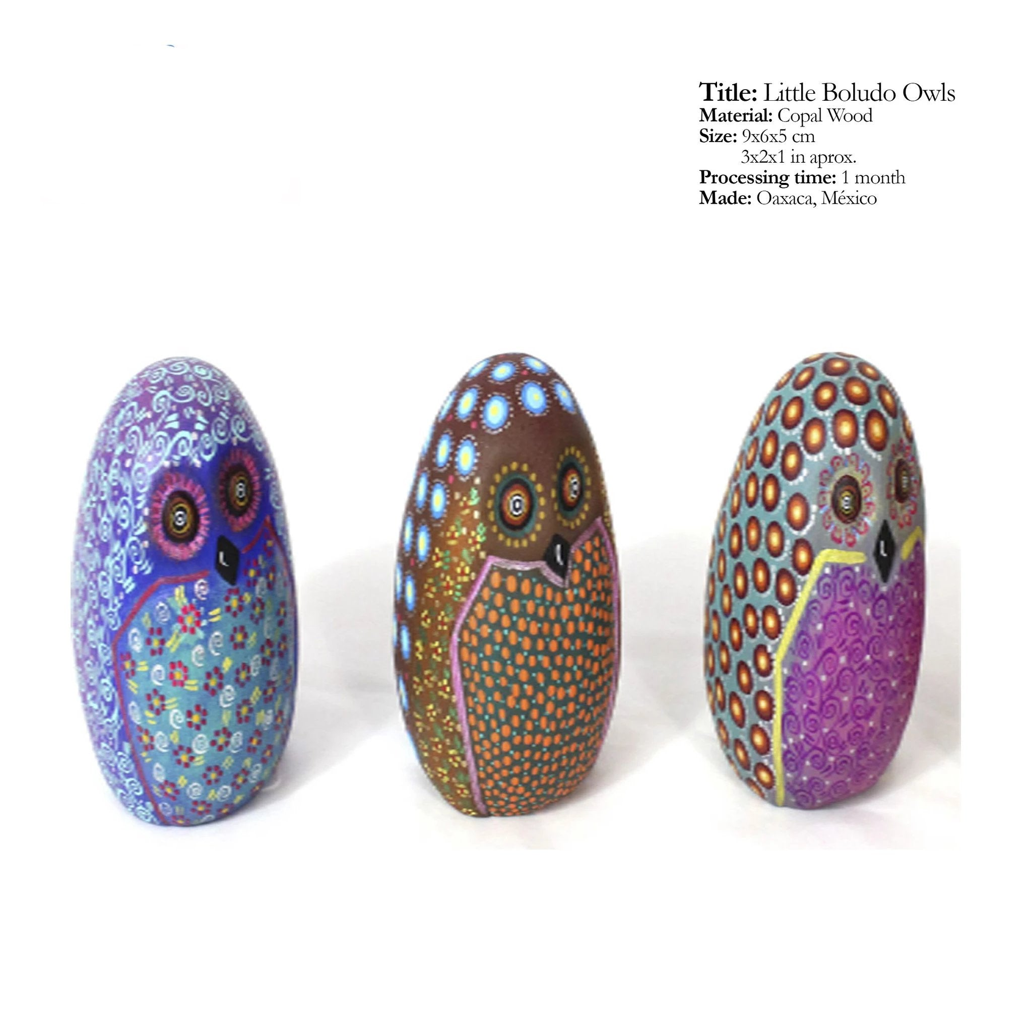 Little Boludo Owls - Traditional Alebrijes