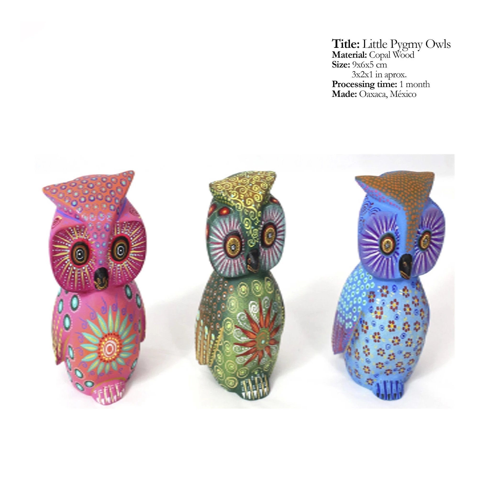 Little Pygmy Owls - Traditional Alebrijes