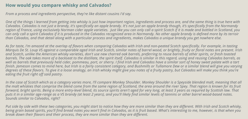 How would you compare whisky and Calvados?