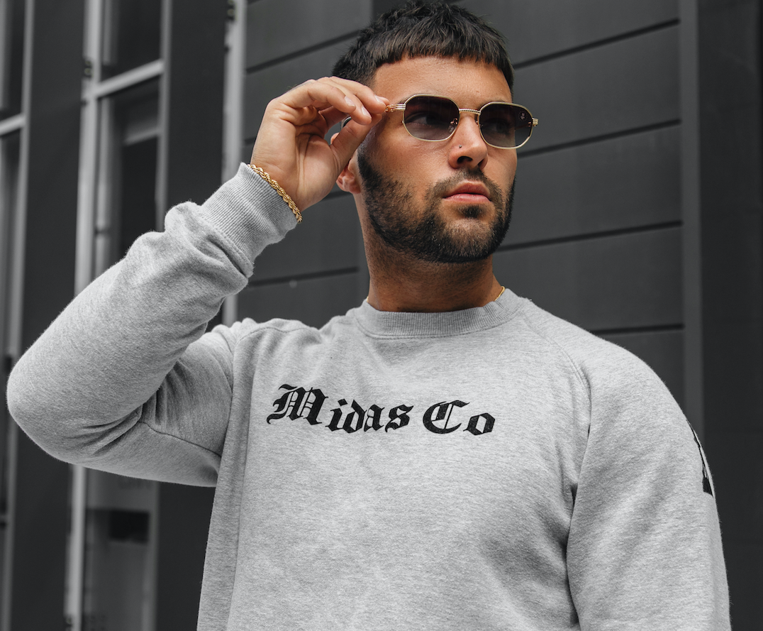 The OE Checkmate Crewneck Jumper - Grey