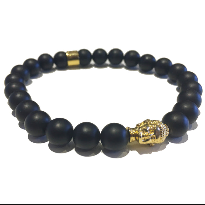 The Buddha Head Beaded Bracelet - Black / Gold