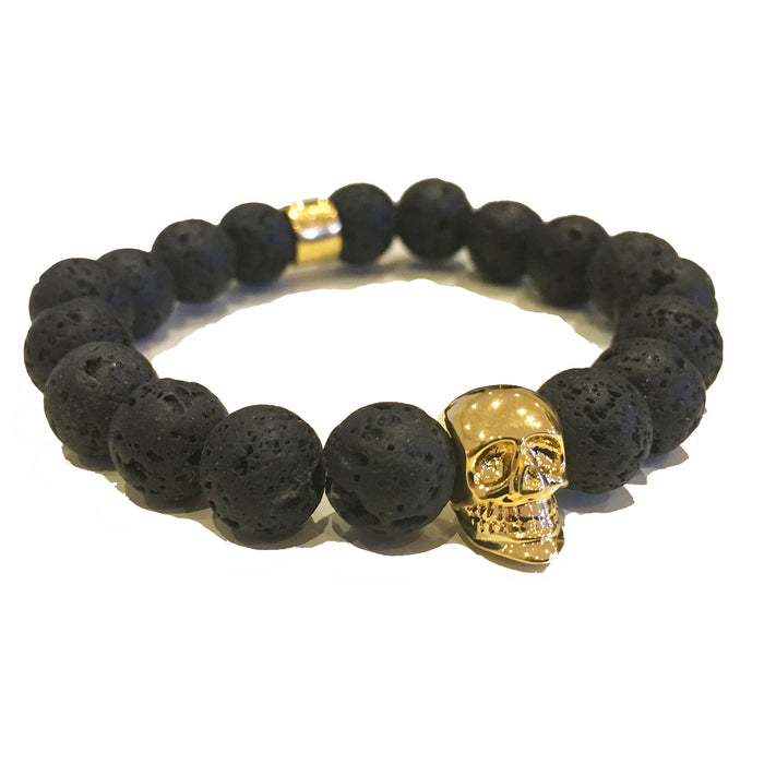 The Kranion Black Lava Beaded Skull Bracelet - Gold