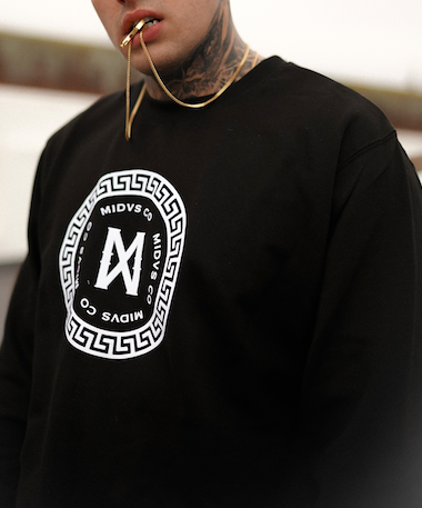 Midvs Co Superior Key Flock Print Crewneck - Black / White