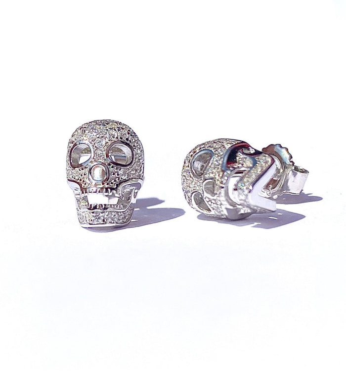 Iced Out Skull Stud Earring - Sterling Silver