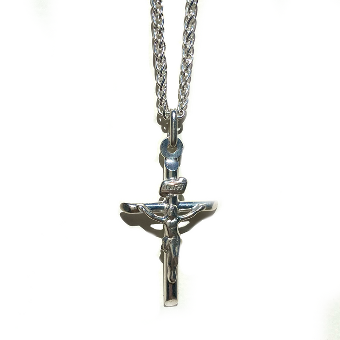 Jesus Cross Pendant Necklace Sterling Silver