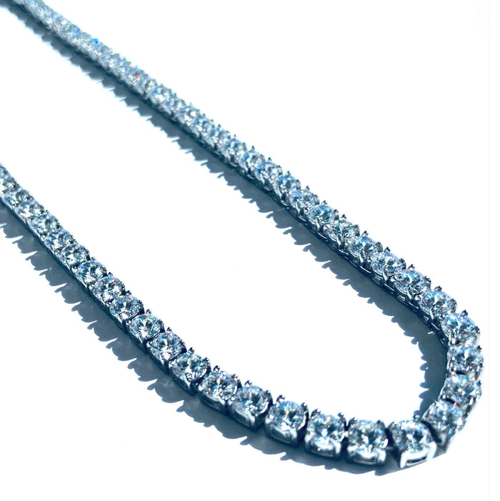 Tennis Chain Necklace | Silver