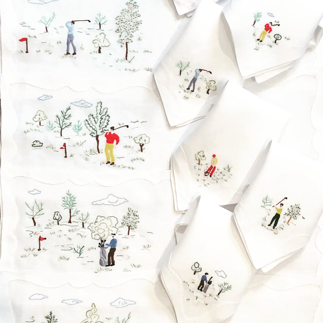 Golf Anyone? Set of 8 - Loro Lino Fine Linens