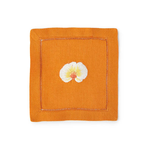 Orchid Cocktail Napkin 6x6 (Set of 4) - Loro Lino Fine Linens