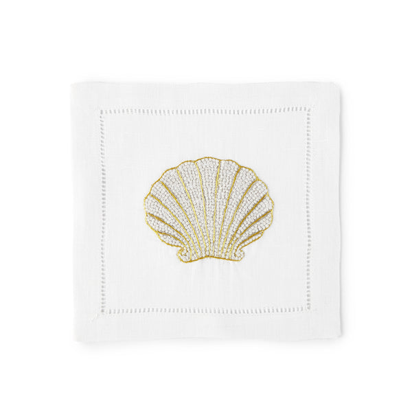 Shell Cocktail Napkin 6x6 (Set of 4) - Loro Lino Fine Linens